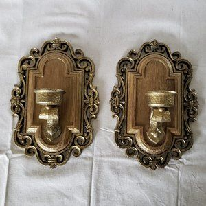Vintage Syroco Wall Sconce Candle Holders - Pair